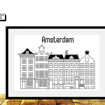 Amsterdam Poster, Amsterdam Houses, Travel poster, Black and White, Amsterdam Art, Minimalist Wall Art, City Prints, Amsterdam skyline,
