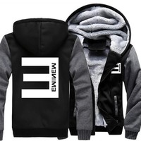 USA size Men Women hip-hop Eminem Zipper Jacket Sweatshirts Thicken Hoodie Coat Clothing Casual