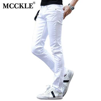 MCCKLE Fashion White Ripped Jeans Men With Holes Skinny Famous Designer Brand Slim Fit Destroyed Torn Jean Pants mens jeans