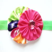 Girls fabric flower headband - infant toddler pink head band with rhinestone center - lime green elastic band - photo prop