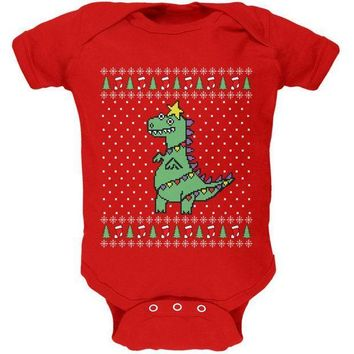 CREYCY8 Big Tree Rex T Rex Ugly Christmas Sweater Soft Baby One Piece