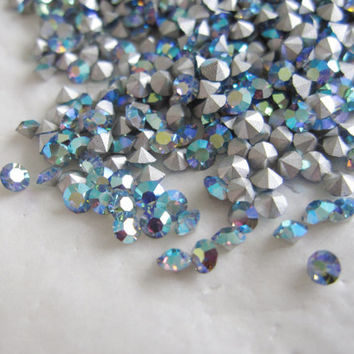 Vintage Swarovski Rhinestones Crystals Chaton 24pp SS12 PP 24 Light Sapphire Blue AB Round Point Back 3 mm Wholesale Lot 10 Jewelry Supplies