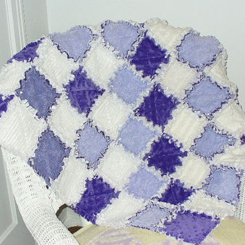 Purple White Baby Rag Quilt Minky Vintage Chenille  27 x 35 1/2 Ready to Ship RQQ