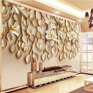 beibehang Large custom wallpaper Wallpaper Yasushan fragrant resin embossed TV background wall mounted 3d wallpaper