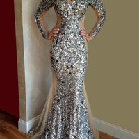 Sexy Halter Neck Long Sleeve Beaded Crystal Rhinestone Mermaid Prom Dresses Tulle Women Formal Evening Gowns Vestido De Festa