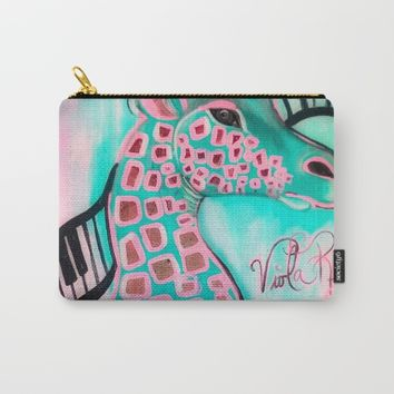 PINK GIRAFFE Carry-All Pouch by violajohnsonriley