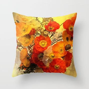 Poppy Expressions Throw Pillow by Theresa Campbell D'August Art
