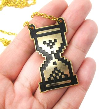Classic Windows Pixel Hourglass Loading Sand Clock Pendant Necklace | Limited Edition
