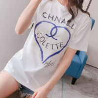 Chanel 2018 short sleeves T-shirt women's summer new baggy bottom top half sleeve F-ZYHFS white