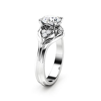 Unique Engagement Ring 1.28 Carat Forever One Moissanite Engagement Ring 14K White Gold Ring