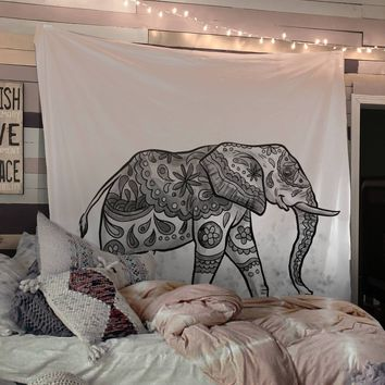 Reiki Charged Lucky White Elephant Black and White Tapestry Wall Hanging Indian
