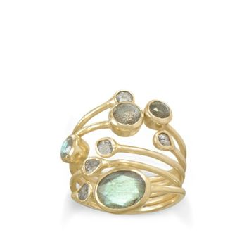 14K Gold Plated Polki Diamond and Labradorite Stacked Ring