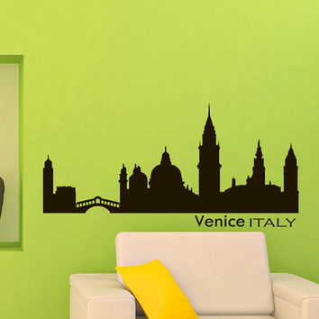 Vinyl Wall Decals Venice Italy Skyline City Silhouette Sticker Home Decor Art Mural Z595
