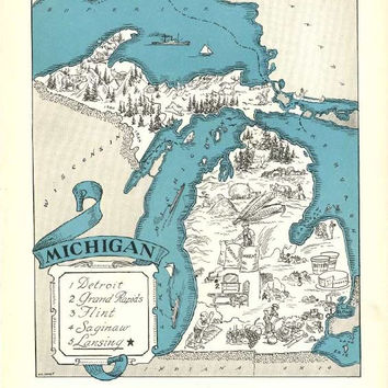 Michigan Map Print / MI State Wall Decor / 1930s Vintage Map Art / Quinn State Map Wall Art Print / Old Map Illustration / Great Lakes State