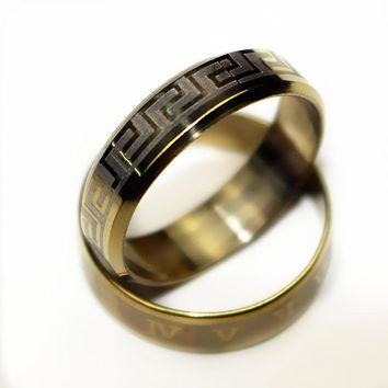 Vintage Gold Color 316L stainless steel Ring Mens Jewelry for Men  Wedding Band male ring for lovers