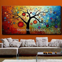 Hand painted modern abstract money tree canvas wall art oil painting on canvas huge home decoration unique gift artwork pictures