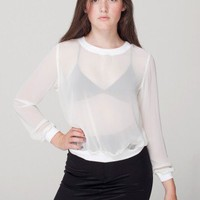 Chiffon Long Sleeve Crew Neck Pullover | Blouses & Shirts | Women's Tops | American Apparel