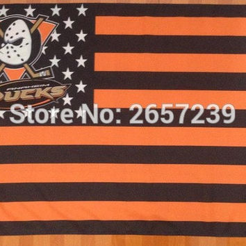 Anaheim Ducks with stripes and stars Flag 3x5FT NHL banner 100D 150X90CM Polyester brass grommets custom66,free shipping BC1006