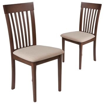 2 Pk. Wellington Walnut Finish Wood Dining Chair with Rail Back and Fabric Seat