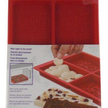 """Silicone Wilton Holiday Candy Melts Stack N Melt Bark Mold Christmas 4""""x2.5"""""""