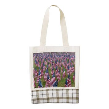 Small American Flag Rows Zazzle HEART Tote Bag