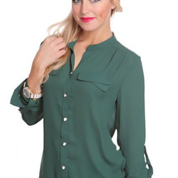 Forest Green Sheer Chiffon Button Up Gathered Sleeves high Low Hem Chic Top @ Amiclubwear Top Shirt Clothing Online Store: Dress Shirt,Sexy Womens Shirt,T Shirts,Corset Dress,White T Shirt,Girl T Shirt,Short sleeve top,Sexy Shirts,Hawaiian Shirts,Cute Top
