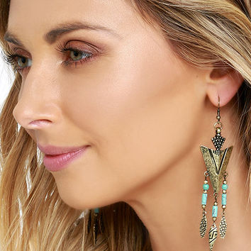 Rocky Range Turquoise and Gold Earrings