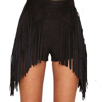 Fringe High Waist Shorts