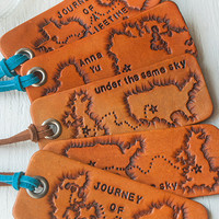 Journey luggage tag or key ring - any state or country shapes - Heart Strings keychain - travel, long distance relationship - Valentines