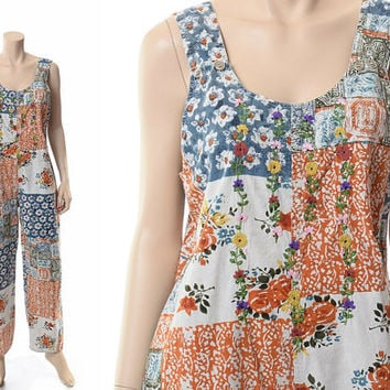 Vintage 70s 80s India Embroidered Bib Overalls 1970s 1980s Patchwork Floral Indian Cotton Hippie Romper Gypsy Grunge Jumpsuit / Medium