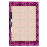 Geometric Floral Hot Pink and Black Dry-Erase Whiteboards