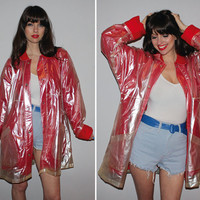Vintage 80s RAINCOAT / OVERSIZED Rain Slicker / Clear VINYL, Shiny / Red Fleece Lined, Super Soft / Pearlized Metallic / Spring Jacket