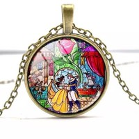Beauty and the Beast Inspired Stained Glass Necklace