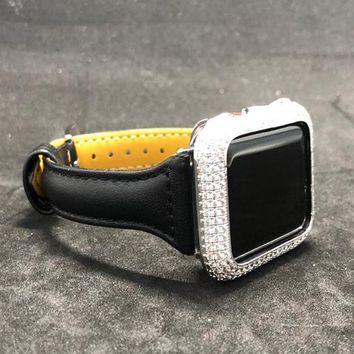 Apple Watch Leather Band 38mm/40mm 42mm/44mm Black Smooth Slim Skinny Womens Mens Series 1 2 3 4/Iced Out Bezel Case Cover Lab Diamonds