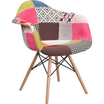 Alonza Series Milan Patchwork Fabric Chair with Wood Base -Flash Furniture