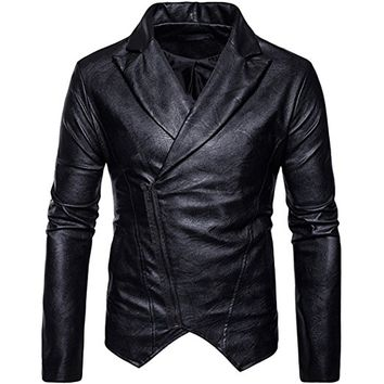 Partiss Men's Inclined Zipper PU Leather Moto Biker Jacket