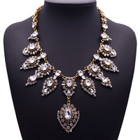 XG226 New Arrival Vintage Crystal Necklaces & Pendants Crystal Flower Droplets Statement Necklace Gold Crystal Chain Jewelry
