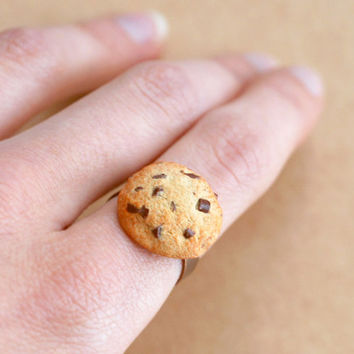 chocolate chip COOKIE RING - sweet jewelry