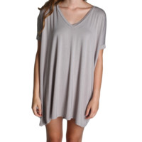 Chelsea Grey Piko Tunic V-Neck Short Sleeve Dress