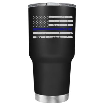 Distressed Thin Blue Line Police Flag on Black Matte 30 oz Police Tumbler