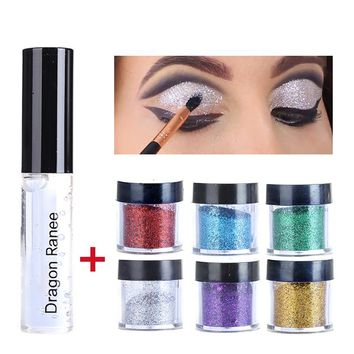 Professional Shimmer Shine Eyeshadow Glitter Metallic Pigment Gold Silver Red Glitters Eye Shadow Powder Makeup with Glue