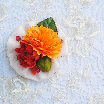 Orange & Green, Tropical Flower, Strawberry Printed Polka Dot, Floral, Kitsch Fashion, Pin Up, Multi-Functional Hair Accessory Clip