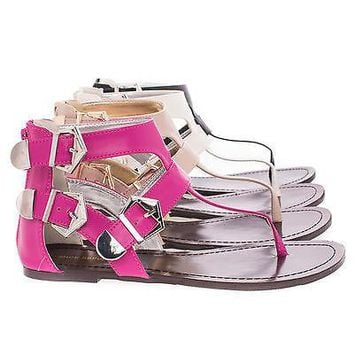 Nelly White By Shoe Republic, Gladiator Thong Sandal w Contrasting Metal Buckle