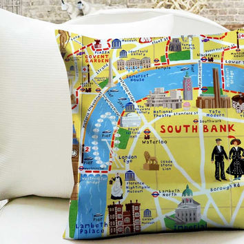 Adventure Walks Map Pillow Cases