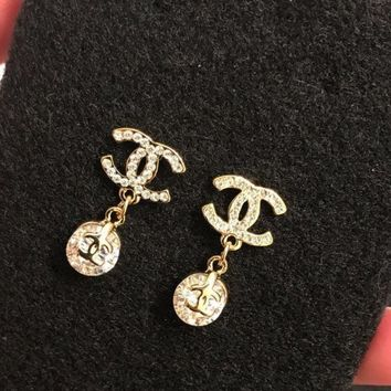 DCCKJR8 Gold CC Earrings