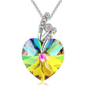 "Swarovski Element Necklace Rainbow S Blessed Heart Pendant with Swarovski Crystals, 18"", Gifts for Women"