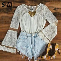 New 2015 Spring Summer Women Blouses Fashion Casual Lace Shirts White Blouses White Lace Tops = 1667720644