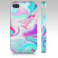 iPhone case, iPhone 4s, iPhone 5 case, hippy, hipster, swirls, marble abstract painting, aqua blue turquoise pink white, art for your phone