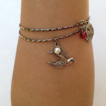 Set of Two Bird Bangle Bracelets. Sand Dollar. Silver. Bird Jewelry. Boho. Beach. Nautical. Pearl. Red Glass Bead. Silver Birds.