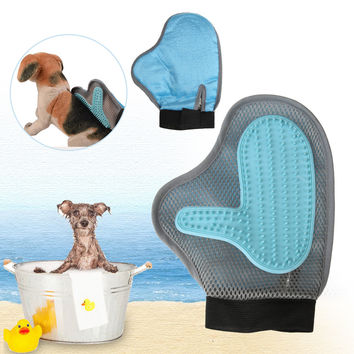 Pet Dog Cat Brush Glove Bath Mitt Glove for Gentle Pet Grooming Massage Bathing Brush Comb For Dog's Long and Short Hair